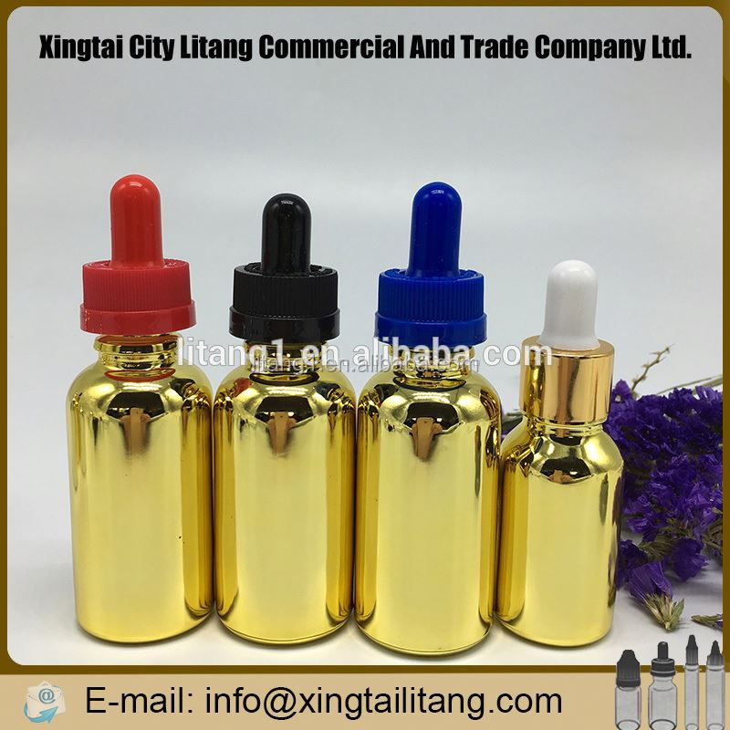 2016 NEW Beautiful electroplating 30ml gold glass bottles with child&temper proof caps for ejuice