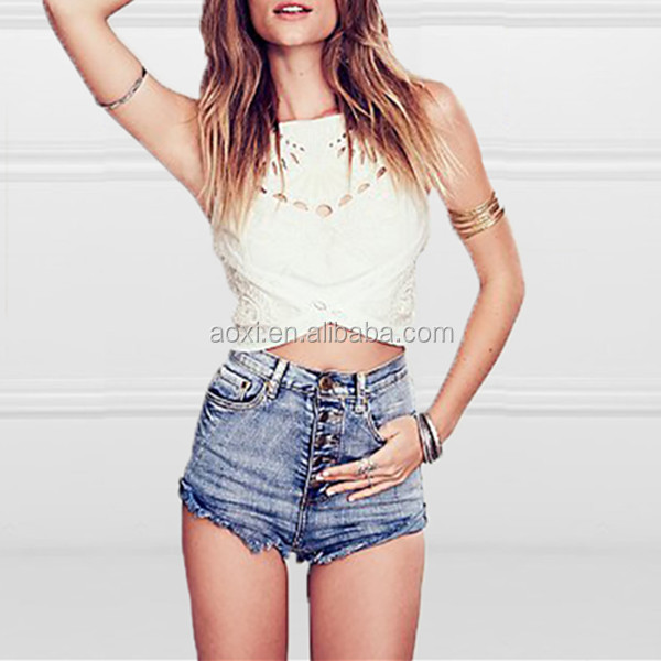 2014 China wholesale girls cheap cut out adjustable stripes beaded crop ladies 100% Cotton tank tops