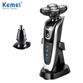 Kemei KM5885 New 5 Head 2 in 1 Rotary Electric Shaver Washable and Nose Hair Trimmer Floating Shaver Rechargeable