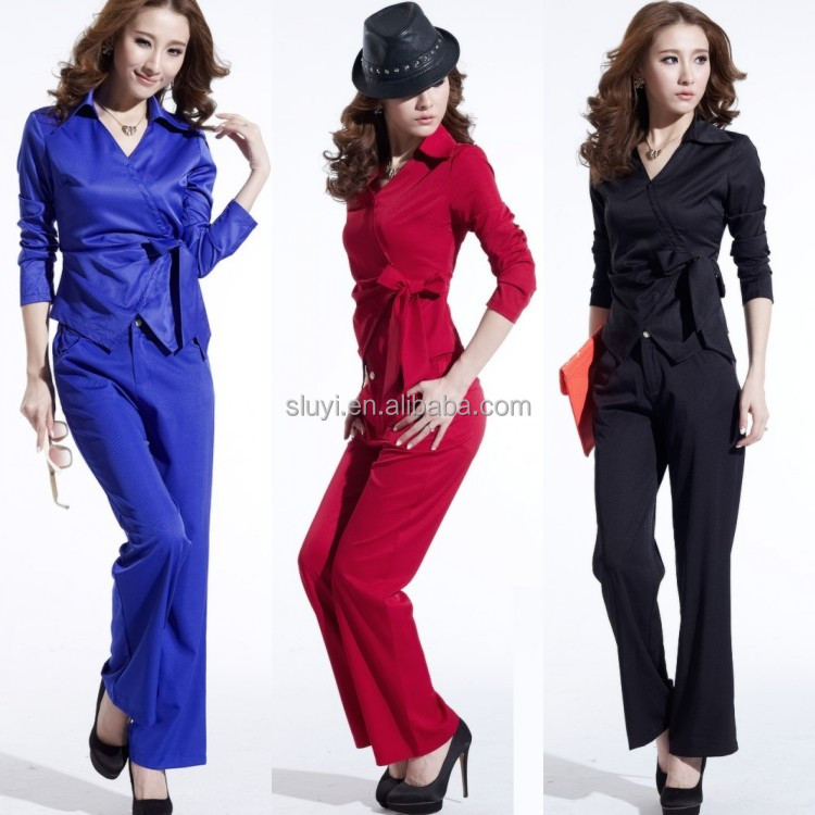sexy pant suits women long sleeves slim body office style fall