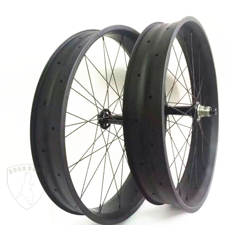 26er snow bicycle carbon wheels full carbon T800 25mm clincher hookless 100mm width fat bike wheels