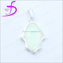 Factory wholesale rhodium plated 925 silver hamsa charm
