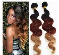 "shipping fast 10""~26"" brazilian 3 tone ombre color hair"