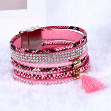 new coming handmade beach bohemia bangle magnetic clasp tassel brazilian multi layer leather wrap bracelet