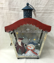 Decorative Santa Snowman House Shape Metal Frame Christmas Tealight Lantern WIth Bule Color On Top