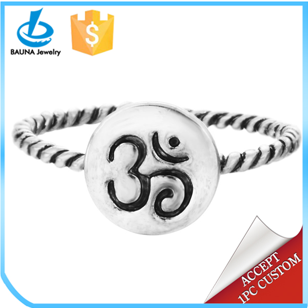 Fashion yoga jewelry antique gold antique silver plated Om ring for women