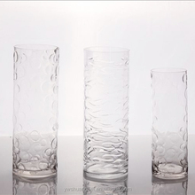 cylinder grained tall glass vase