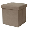 Collapsible folding bathroom linen fabric covered cube ottoman with storage