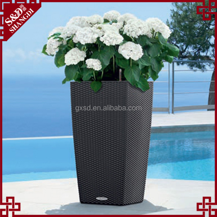 Large size home or garden decorative planter resin rattan flower pot