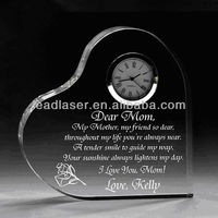 2D Heart Shape Laser Engraved Crystal Desk Clock