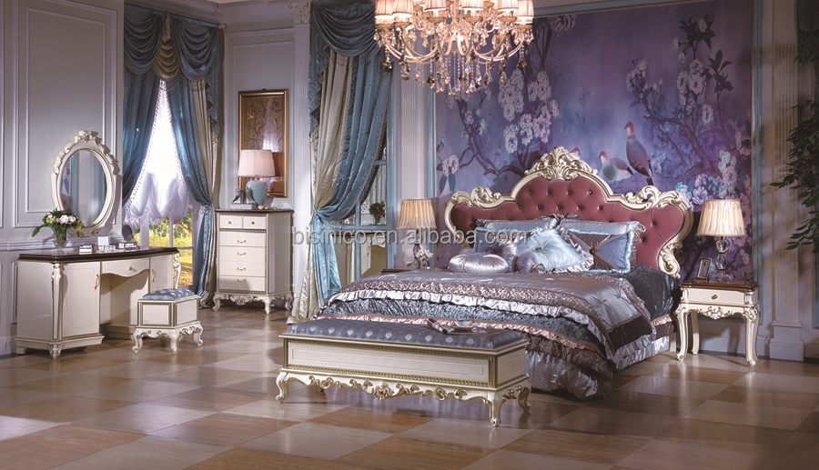Antique Rococo Bed Room Furniture, Italian Style Bedoom Furniture Set