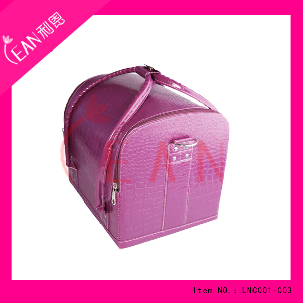 purple foldable nail cosmetic case bag hard case cosmetic bag leather makeup cosmetic brush case with belt