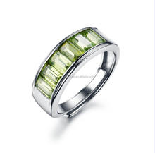 925 silver jewelry white gold plated hand made channel setting Peridot adjustable Ring for men