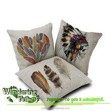 Hand painted peacock feathers stone art cotton and linen pillow cushion cover 45 * 45 bed pillows skull cushion cover