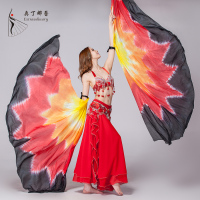 Half Circle 100% Silk Stage Performance Props 1 Pair Silk Veil Dance Gradient Color Tie Dye Belly Dance Costume Isis Wings