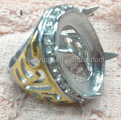 Ring titanium batu akik ring Cincin titanium batu akik 2 tone color with diamond