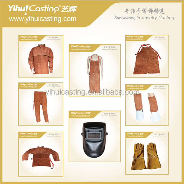 Safety and protecting products gloves, helmet, cloth, apron for industrial jewelry making and design