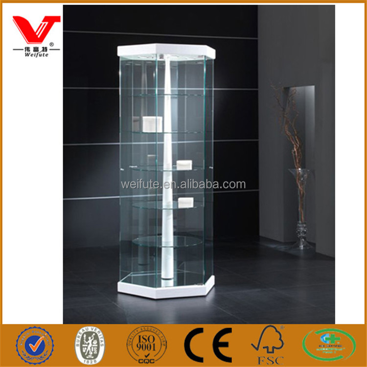 Luxury hexagon fancy tower exhibition display case cabinets for shopping mall