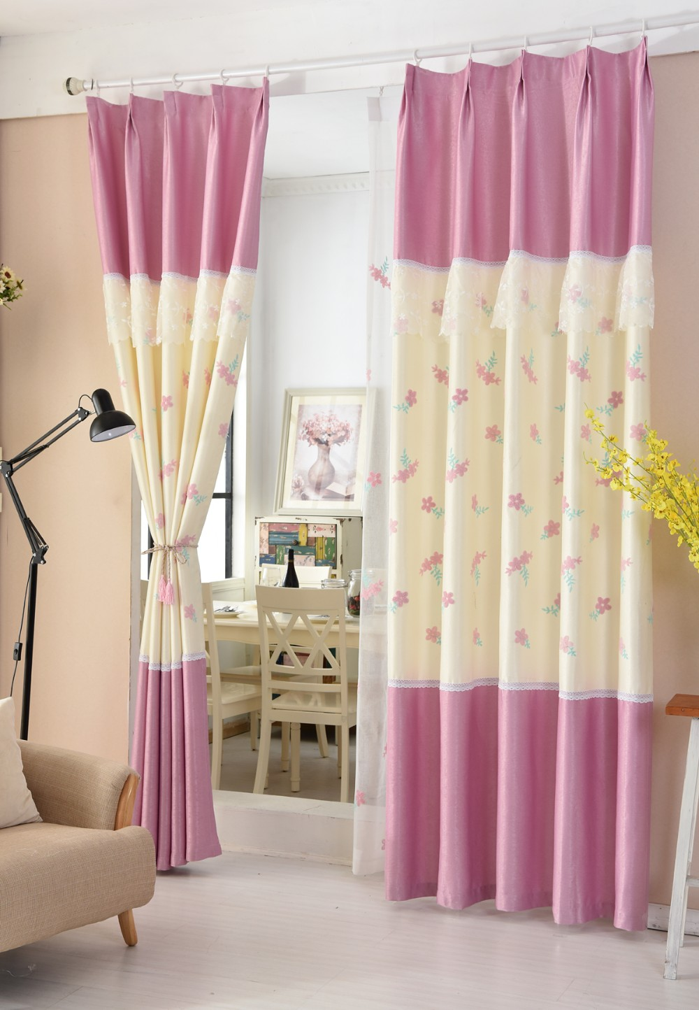 Roze zoete kant nieuwe pastorale bloemen borduren gordijn ontwerp ...
