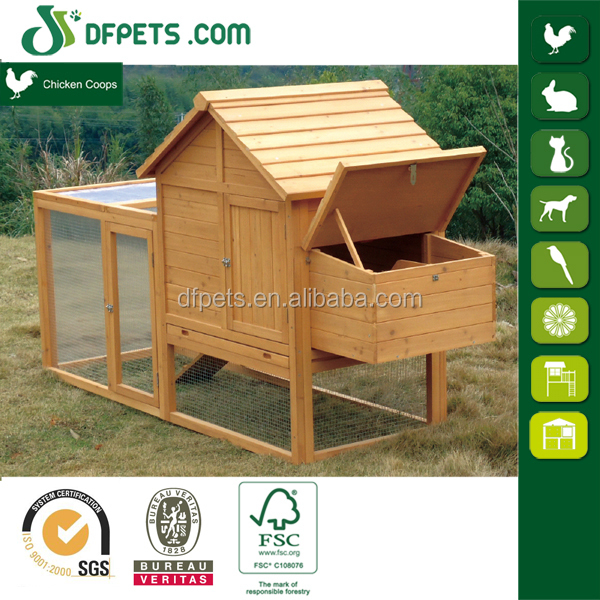 Wood Hen Chicken Duck poultry Run Hutch House Coop Cage with nesting boxes