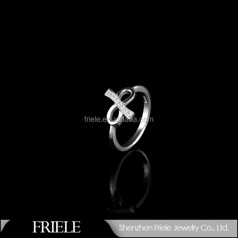 Friele Bow tie 925 rhinestone ring,cheap new design rings silver jewelry