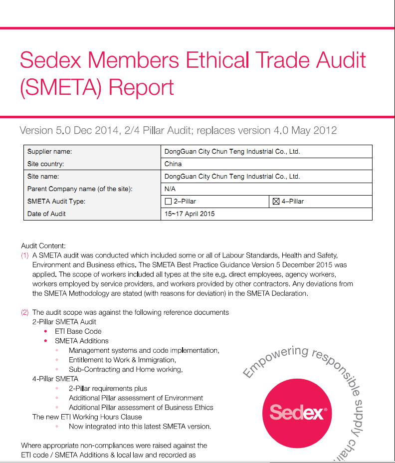 Sedex Members Ethical Trade( SMETA) Autid