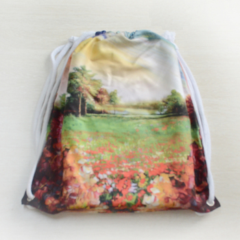 Multi function microfiber flannel silk screen printing string bag