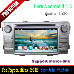 Android quad core gps touch screen car radio for toyota hilux dvd player 1.6GHZ tv wifi 3G/4G SWC mirror link 2 years warranty