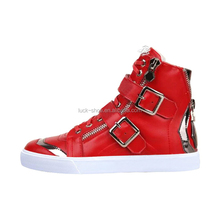 Red genuine leather Men fashion shoes high top casual sport shoe for men side zipper buckle up men walking shoes