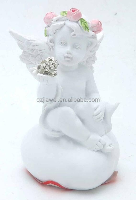 Small size Mini Angel sitting on heart-shaped stone statuette for sale