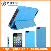 Set Screen Protector And Case For Iphone 5 , Blue Hexagon Pattern PU Custom Design Clear Phone Case