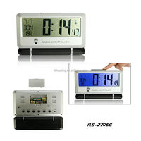 Digital large lcd screen desk radio controlled alarm weather station clock