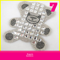 8x10cm Crystal Rhinestones Bear Iron On Transfer Motifs Crystal Stone Applique Patches For T-Shirt