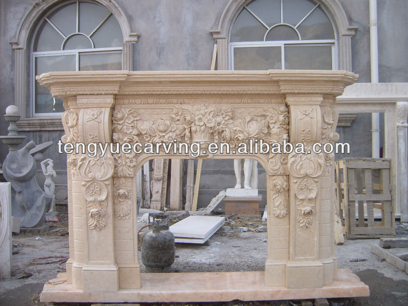 Marble Fireplace Hand Carved Fine Antique Beautiful Flower yellow Marble Fireplace