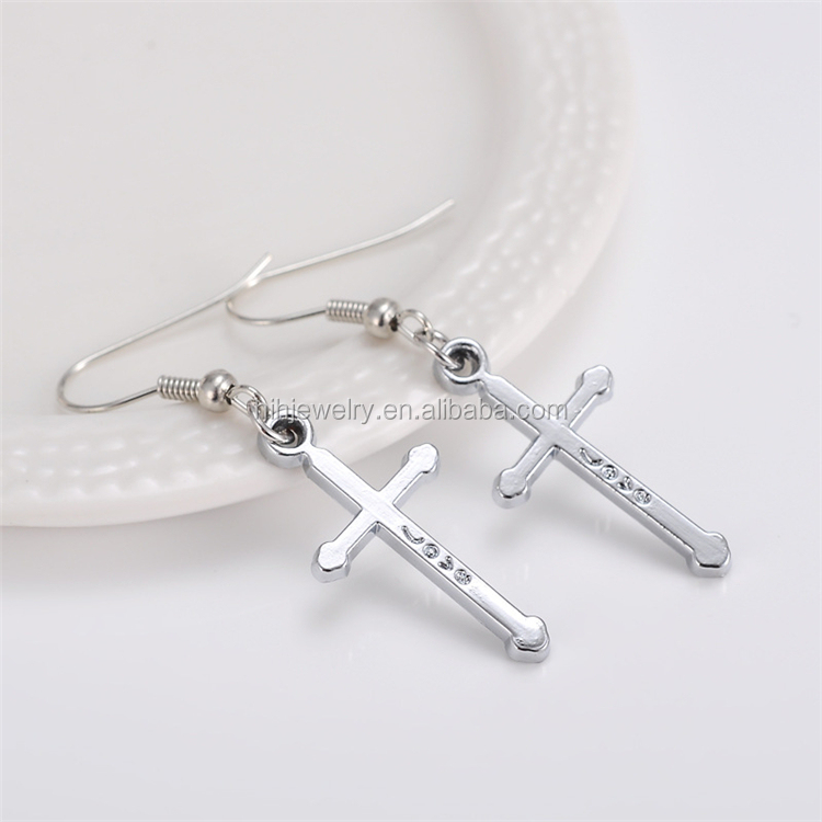 Wholesale Fashion Jewelry Dubai Gold Earrings Tops Design Cross Earrings For Men