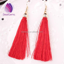 women fashion jewelry various colors long polyester silk thread tassel earrings