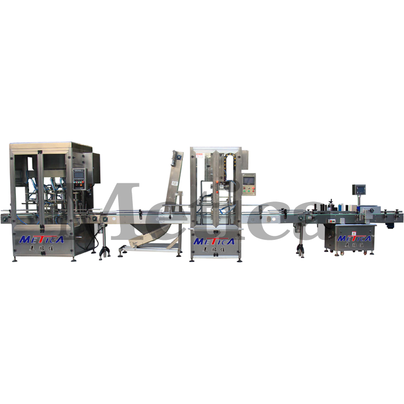 Automatic edible oil and cooking oil filling line with capping and labeling machine for food and beverage industry