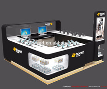 High quality glass store mobile phone display showcase for cell phone accessories kiosk