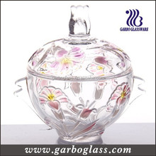 Beautiful Engraved Glass Candy Jar with spray color