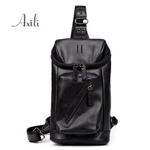 Korea New High quality Fashion Men Chest Pack Male Cross-body Shoulder Leather Travel Bag