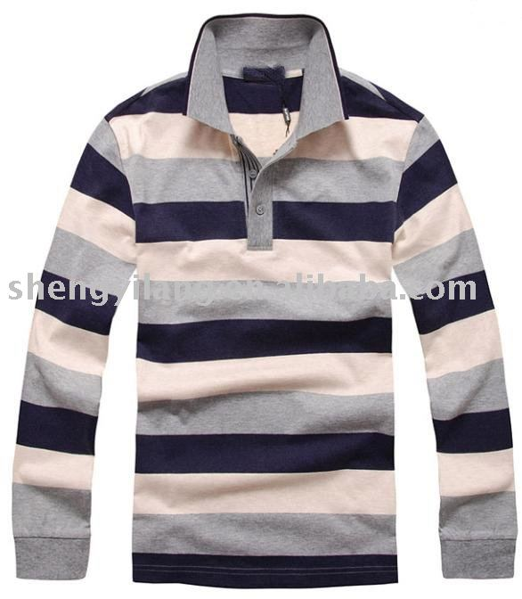 Men's Yarn dyed stripes cotton polo shirt with stripes collar