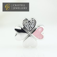 High quality polished glow in the dark 925 sterling silver four leaf clover pink Enamel charms beads jeweley with AAA CZ Stones