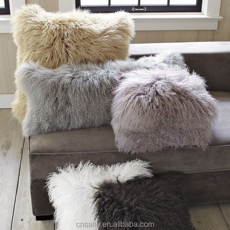 ST-MLP16x16 New made rosette curly Mongolian sheepskin pillows unique fur Tibetan lambwool cushions zipper closure