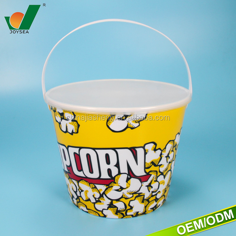 Custom printed plastic popcorn bucket with lid and handles