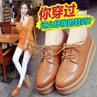 ZHR2015 autumn New England thick soles loafers female brock platform shoes shoes with flat shoes