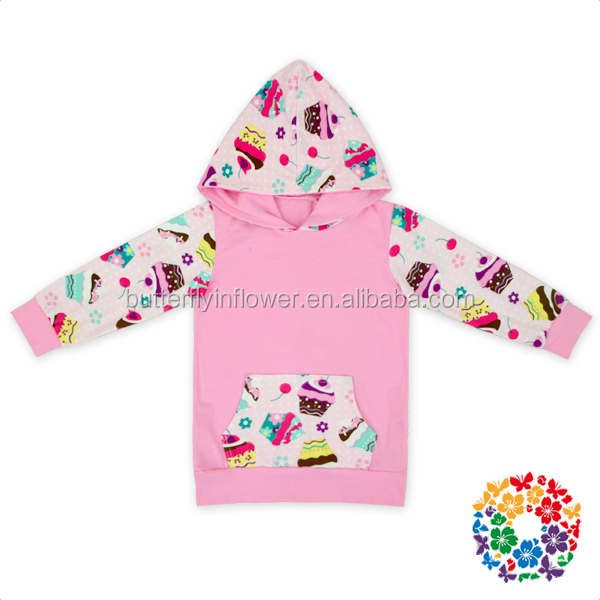 Pink Ice cream Cherry Pocket Front smocked children clothing wholesale