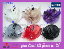 Ostrich feather decorated hair sinamay fascinator
