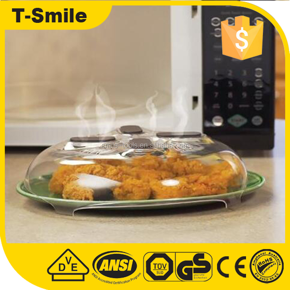 Food Splatter Guard Microwave Hover Anti-Sputtering Cover with Steam Vents 4 magnets