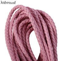 online shopping pink Faux Leather rope Braided PU Leather Cord 6mm for DIY Jewelry
