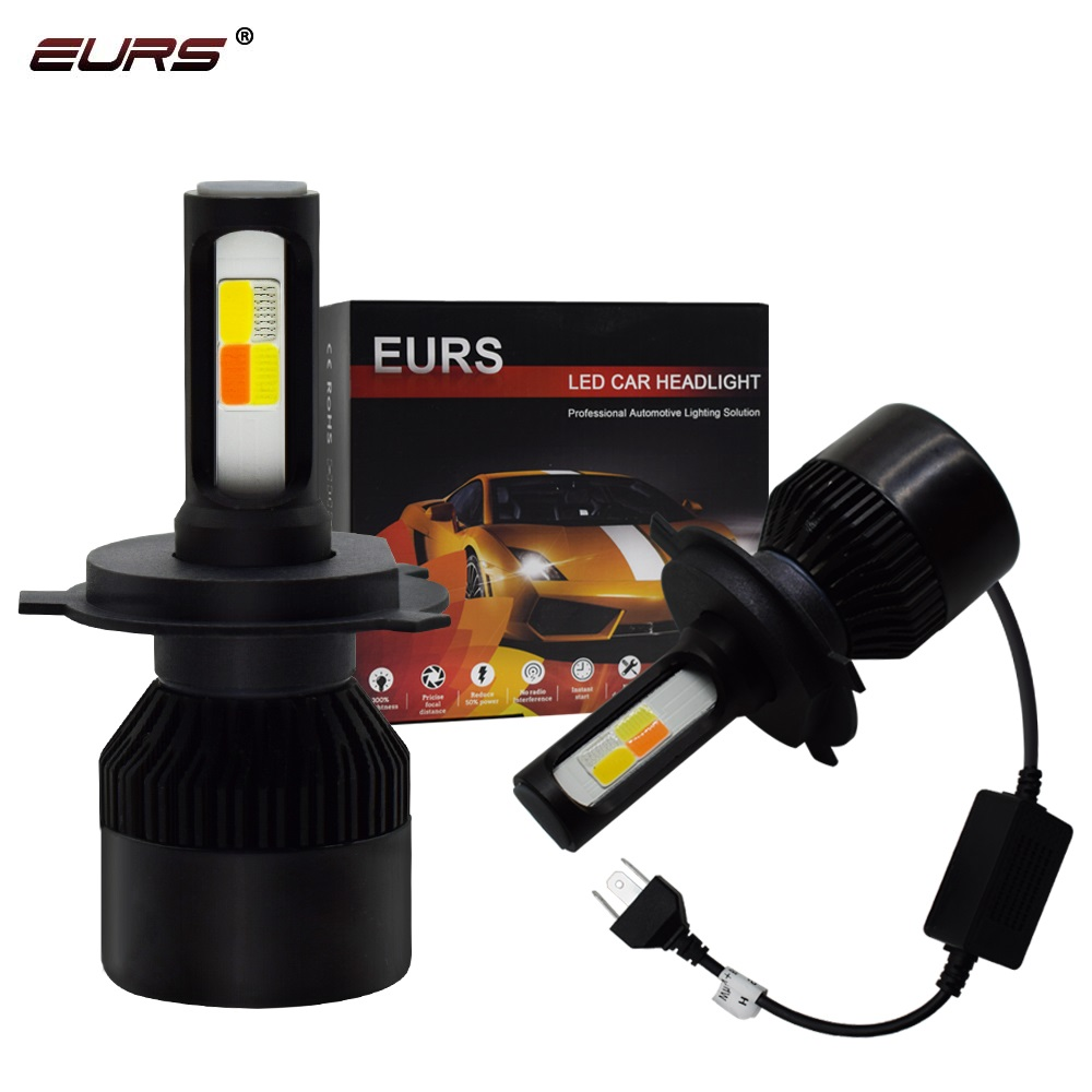 EURS wholesale price H7 led H4 car headlights H1 8000LM 6000K 80W 48V IP68 auto led light <strong>bulbs</strong> 12V 4 color